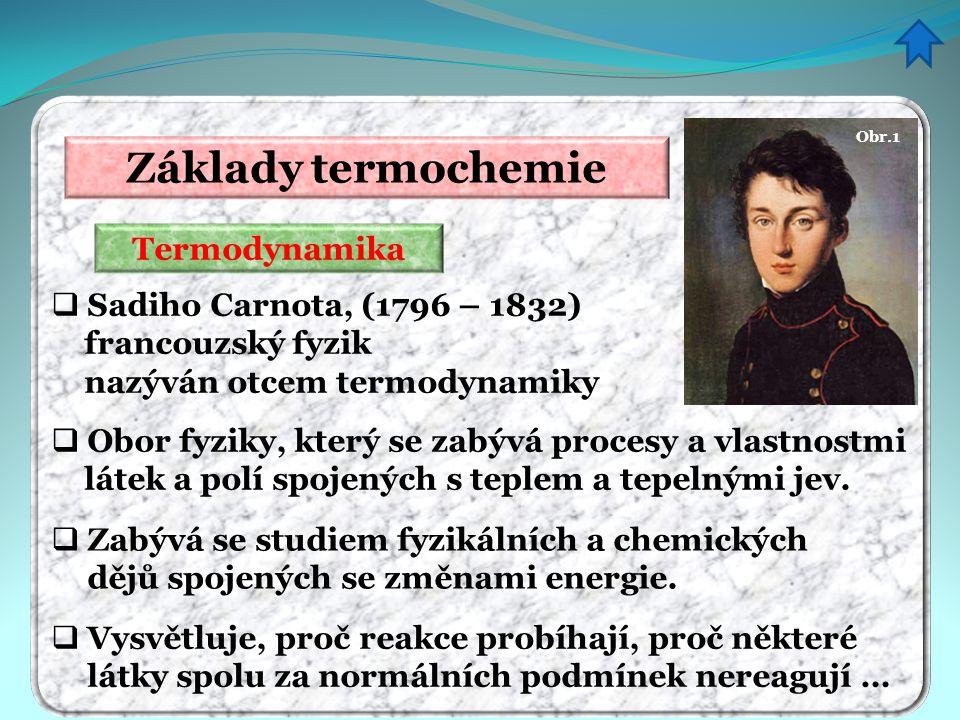 Základy termochemie Termodynamika  Zabývá se studiem fyzikálních a chemických dějů spojených se změnami energie.  Vysvětluje, proč reakce probíhají,