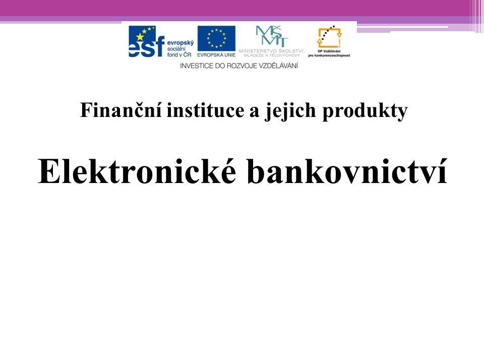 """Charakteristika -elektronické bankovnictví známé také pod názvem přímé bankovnictví nebo internetové bankovnictví -patří mezi nejžádanější služby -klient může komunikovat s bankou přímo ze svého domova či pracoviště, a to bez osobní návštěvy banky -banka je """"k dispozici celých 24 hodin z celého světa -je flexibilní, šetří čas klienta"""
