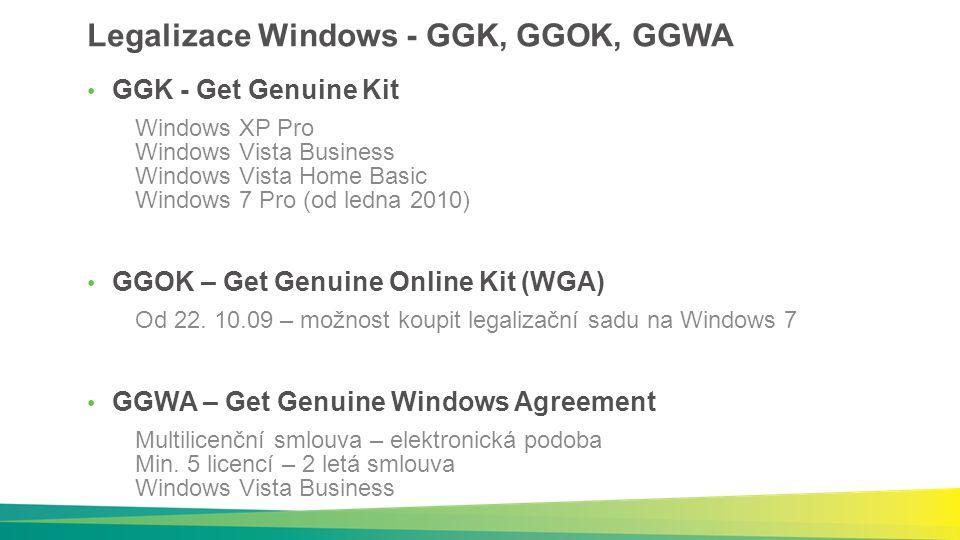 Windows XP – ukončení prodeje v distribuci Distributoři ukončili nákup K dispozici pouze skladové zásoby – po vyprodání definitivně ukončen prodej Windows XP v distribučním kanále Další dostupnost Windows XP Downgrade z Vista Business/Ultimate, Windows 7 Pro/Ultimate V rámci legalizačních řešení XP Home na netboocích
