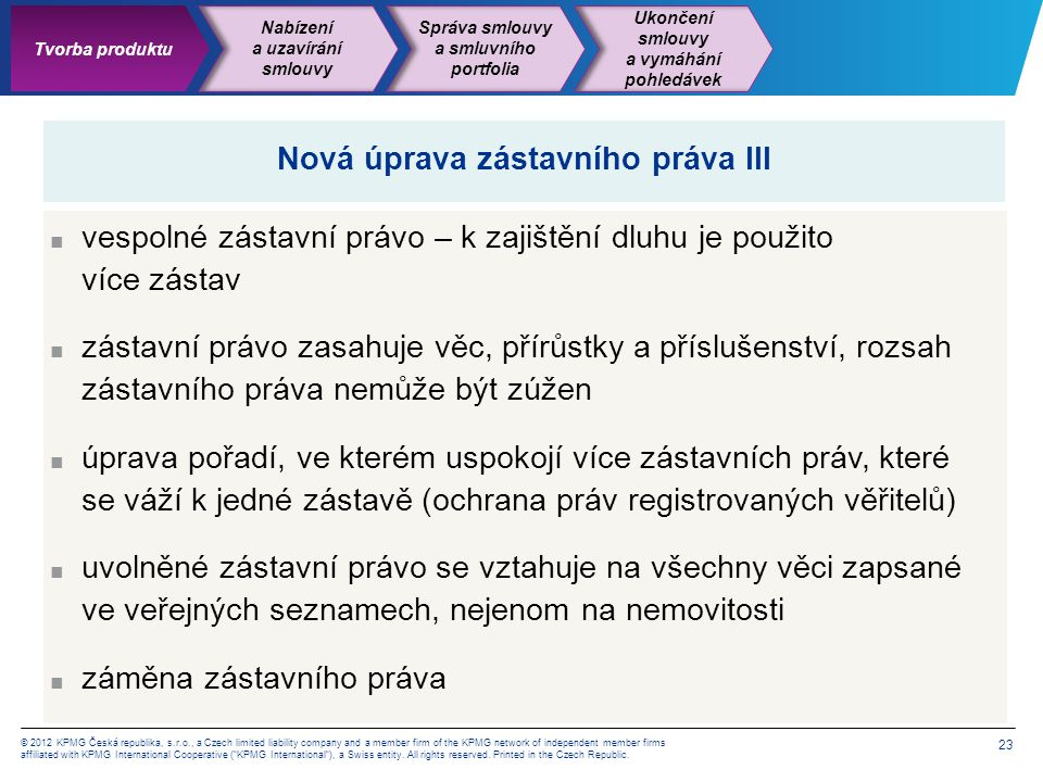 23 © 2012 KPMG Česká republika, s.r.o., a Czech limited liability company and a member firm of the KPMG network of independent member firms affiliated with KPMG International Cooperative ( KPMG International ), a Swiss entity.