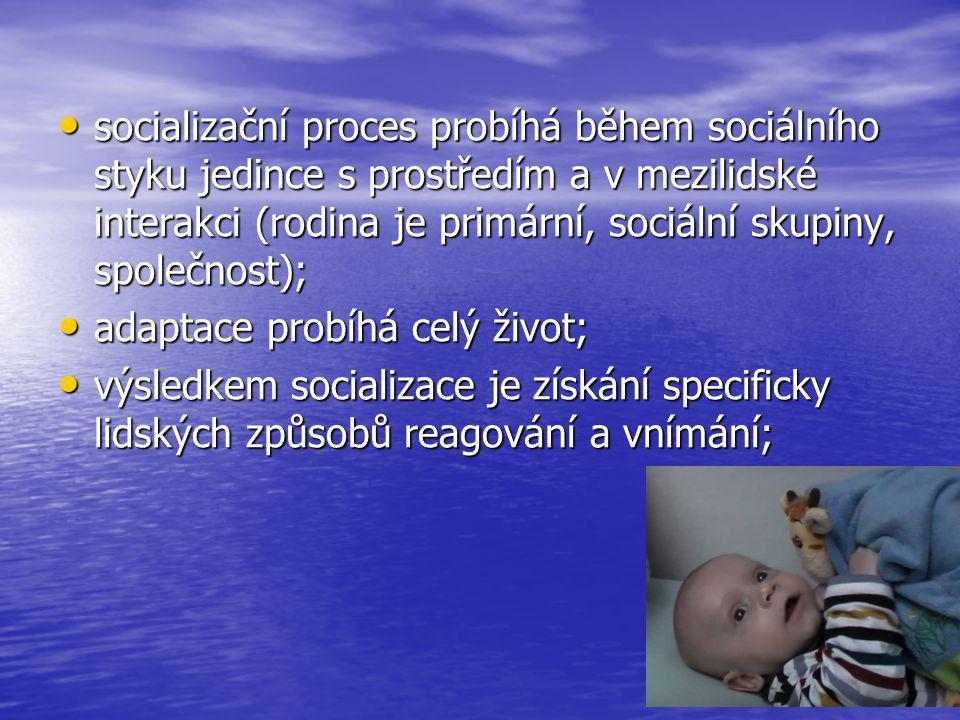 socializační proces probíhá během sociálního styku jedince s prostředím a v mezilidské interakci (rodina je primární, sociální skupiny, společnost); s