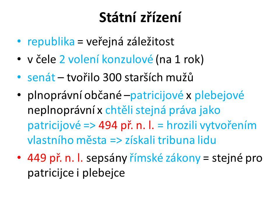 Státní zřízení republika = veřejná záležitost v čele 2 volení konzulové (na 1 rok) senát – tvořilo 300 starších mužů plnoprávní občané –patricijové x