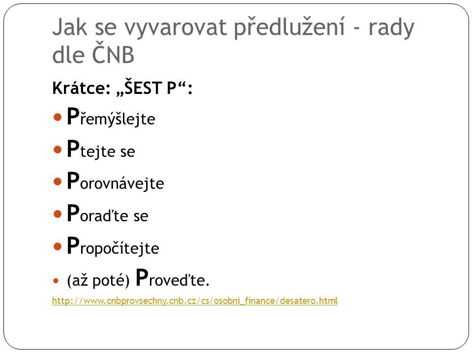 """Jak se vyvarovat předlužení - rady dle ČNB Krátce: """"ŠEST P"""": P řemýšlejte P tejte se P orovnávejte P oraďte se P ropočítejte (až poté) P roveďte. http"""