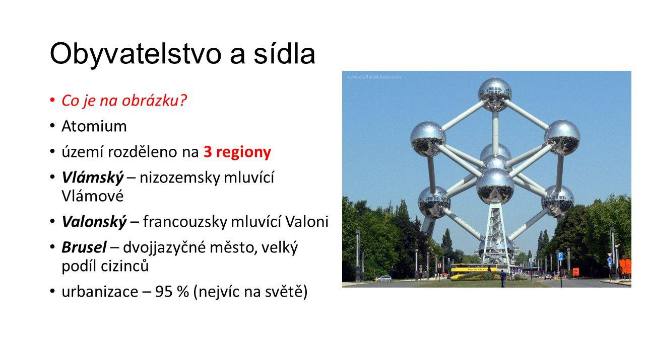 Obyvatelstvo a sídla Co je na obrázku? Atomium území rozděleno na 3 regiony Vlámský – nizozemsky mluvící Vlámové Valonský – francouzsky mluvící Valoni