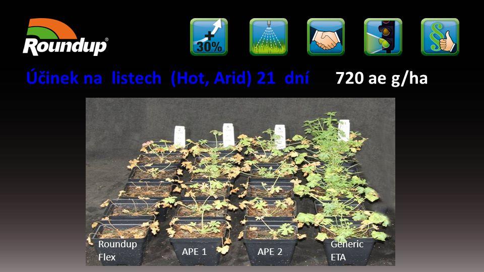 Roundup Flex APE 1APE 2 Generic ETA Účinek na listech (Hot, Arid) 21 dní 720 ae g/ha