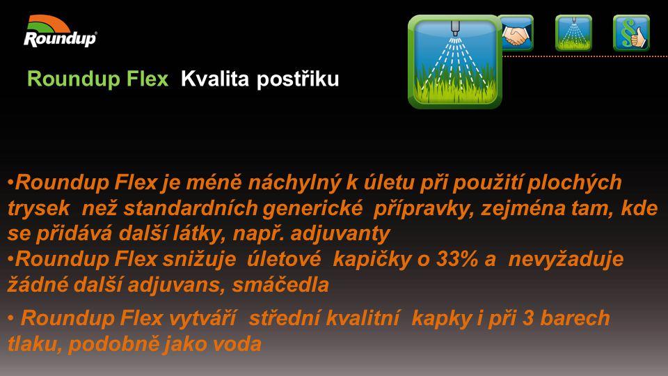Roundup Flex Kvalita postřiku Roundup Flex je méně náchylný k úletu při použití plochých trysek než standardních generické přípravky, zejména tam, kde