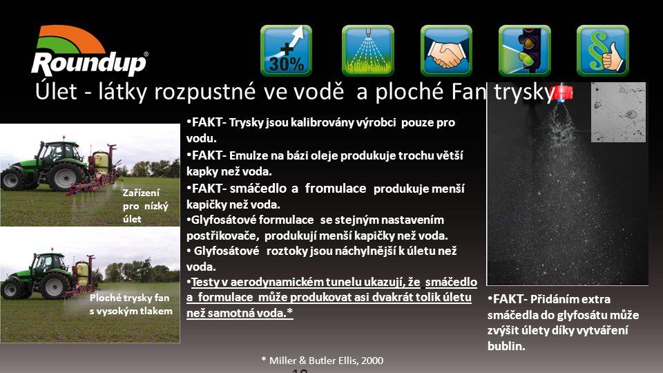 18 FAKT - Trysky jsou kalibrovány výrobci pouze pro vodu. FAKT - Emulze na bázi oleje produkuje trochu větší kapky než voda. FAKT- smáčedlo a fromulac