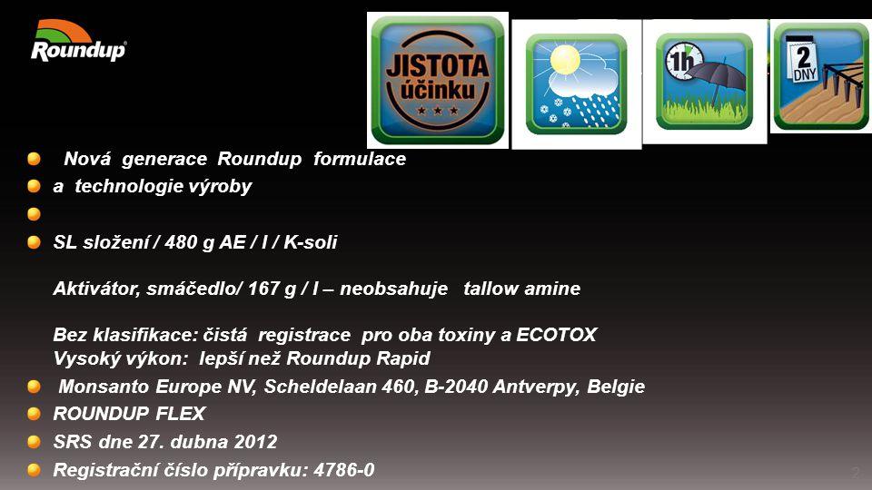 Nová generace Roundup formulace a technologie výroby SL složení / 480 g AE / l / K-soli Aktivátor, smáčedlo/ 167 g / l – neobsahuje tallow amine Bez k