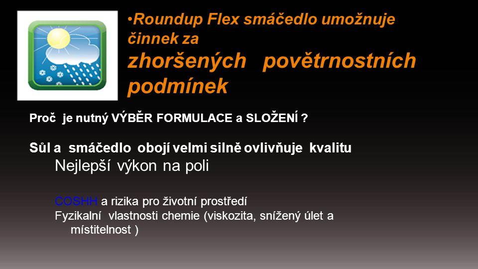 Roundup Flex smáčedlo umožnuje činnek za zhoršených povětrnostních podmínek Proč je nutný VÝBĚR FORMULACE a SLOŽENÍ ? Sůl a smáčedlo obojí velmi silně