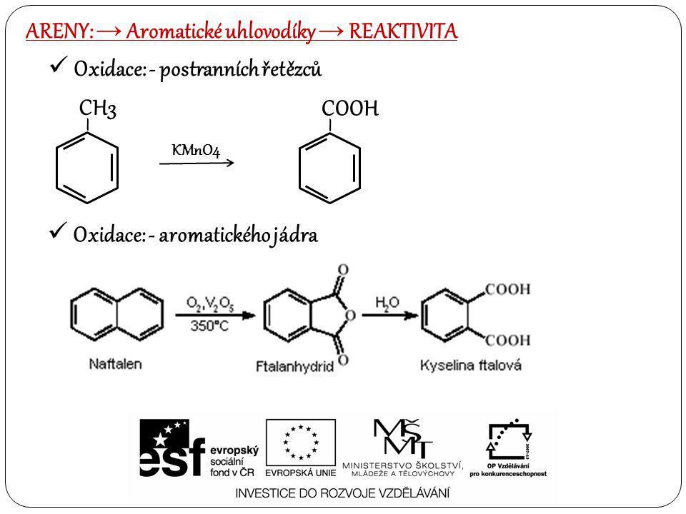 Oxidace: - postranních řetězců ARENY: → Aromatické uhlovodíky → REAKTIVITA Oxidace: - aromatického jádra – CH3 KMnO4 – COOH
