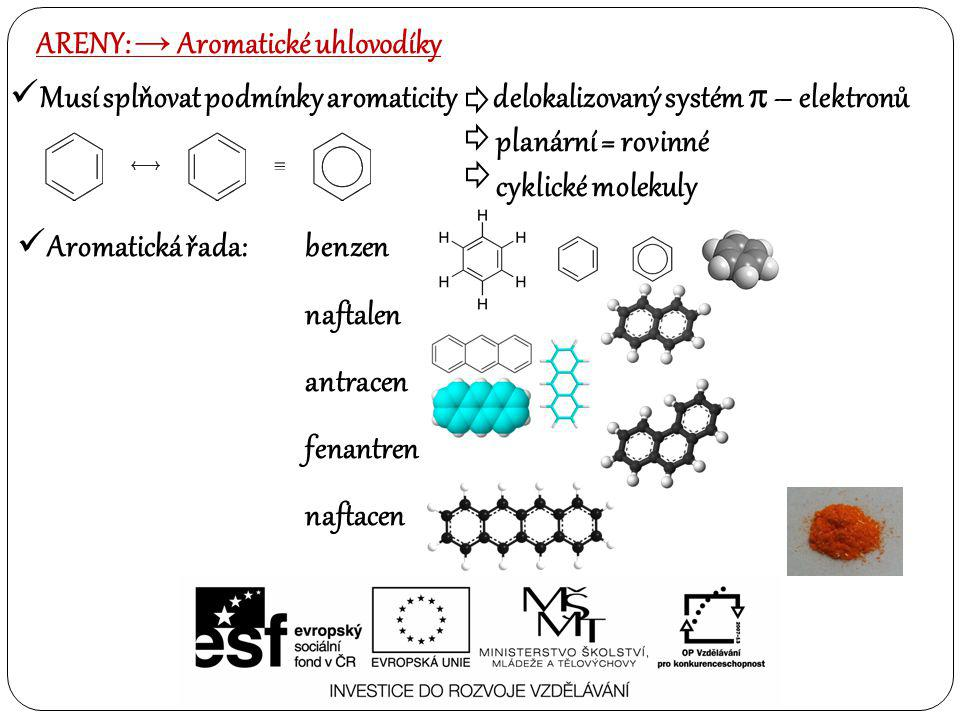 Aromatická řada: benzen naftalen antracen fenantren naftacen ARENY: → Aromatické uhlovodíky Musí splňovat podmínky aromaticity delokalizovaný systém 