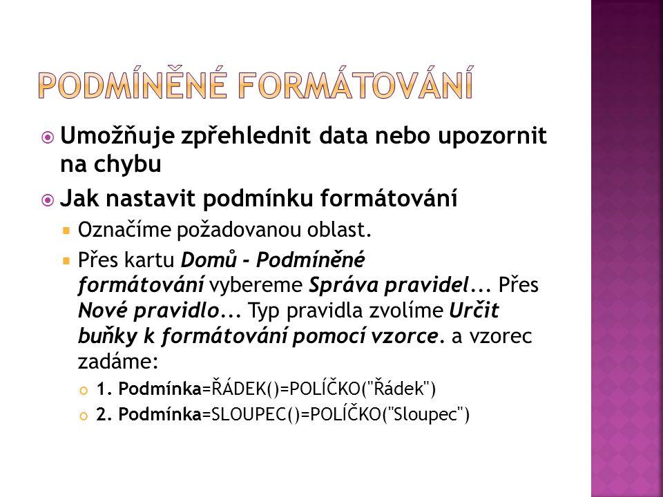  Vybereme z nabídky Formát ->Podmíněné formatování...