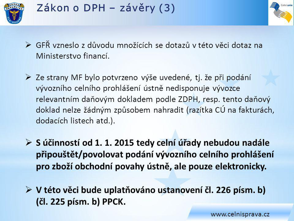 Zákon o DPH – závěry (3) www.celnisprava.cz  GFŘ vzneslo z důvodu množících se dotazů v této věci dotaz na Ministerstvo financí.  Ze strany MF bylo
