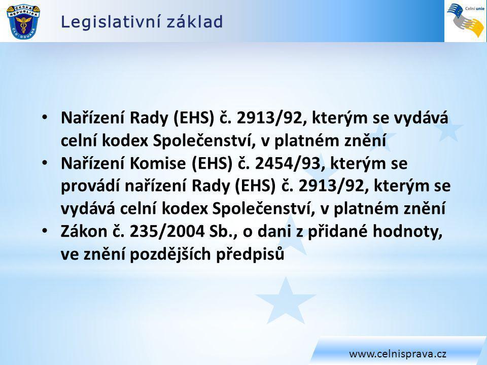 Legislativní základ www.celnisprava.cz Nařízení Rady (EHS) č. 2913/92, kterým se vydává celní kodex Společenství, v platném znění Nařízení Komise (EHS