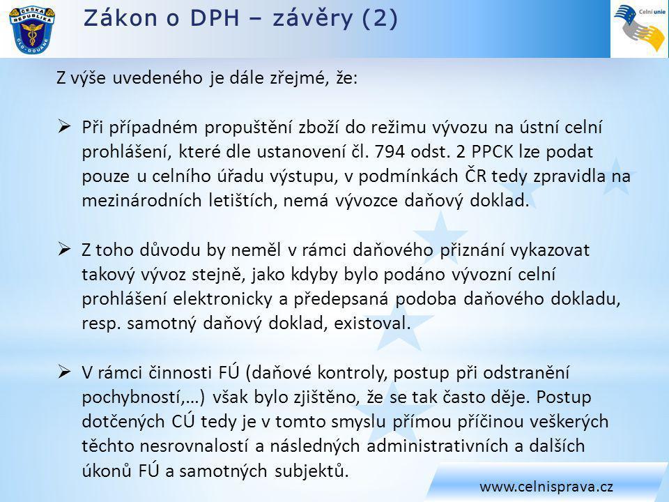 Zákon o DPH – závěry (2) www.celnisprava.cz Z výše uvedeného je dále zřejmé, že:  Při případném propuštění zboží do režimu vývozu na ústní celní prohlášení, které dle ustanovení čl.