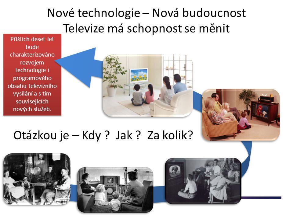 Faktory dalšího rozvoje TV Zdroje Kvalitní programový obsah Technologie Distribuce Kreativita Odvaha riskovat Lidi Ekonomika a Finance Kvalitní, atraktivní, nadčasový, perfektně výrobně zvládnutý programový obsah HDTV HbbTV 3DTV HEVC (High Efficient Video Coding) Ultra-HDTV Nové technologie=nové postupy DVB-T,T2 DVB-S,S2,S3 DVB-C Internet Nutnost využívat veškeré dostupné distribuční platformy pro oslovení diváka Technologické inovační cykly se zrychlují Adaptační procesy stagnují