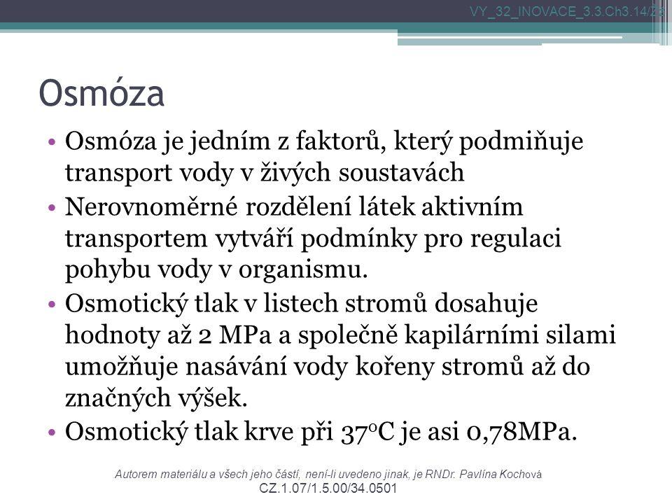 Autorem materiálu a všech jeho částí, není-li uvedeno jinak, je RNDr. Pavlína Koch ová CZ.1.07/1.5.00/34.0501 VY_32_INOVACE_3.3.Ch3.14/Žž Osmóza Osmóz