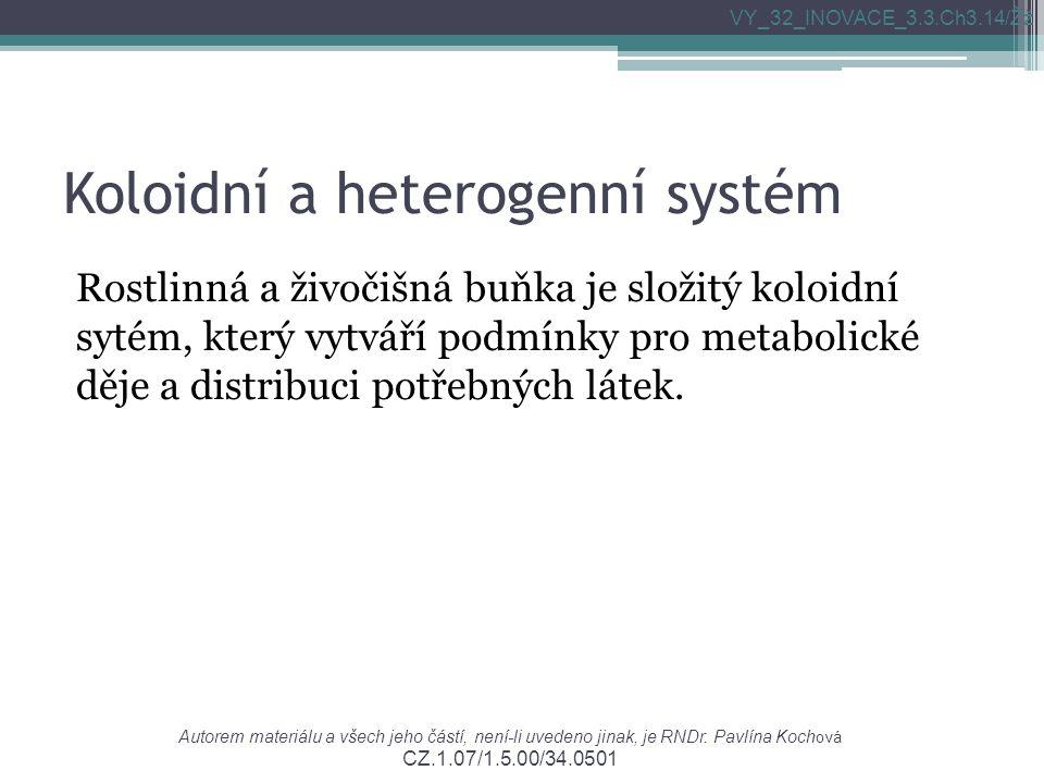 Autorem materiálu a všech jeho částí, není-li uvedeno jinak, je RNDr. Pavlína Koch ová CZ.1.07/1.5.00/34.0501 VY_32_INOVACE_3.3.Ch3.14/Žž Koloidní a h
