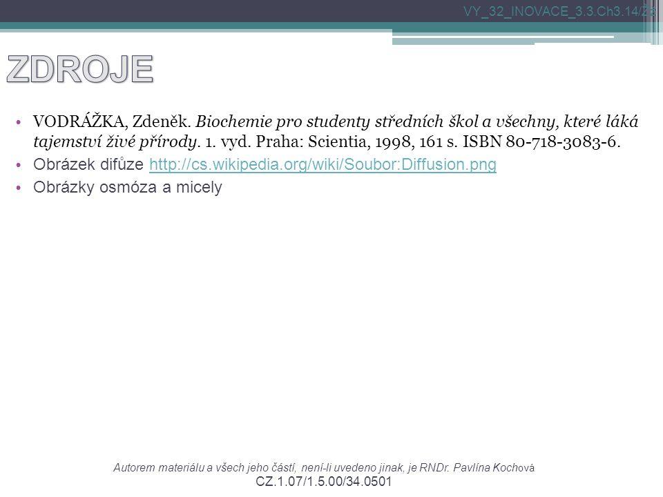 VODRÁŽKA, Zdeněk. Biochemie pro studenty středních škol a všechny, které láká tajemství živé přírody. 1. vyd. Praha: Scientia, 1998, 161 s. ISBN 80-71
