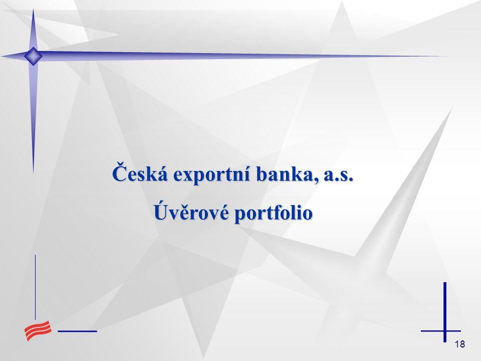 18 Česká exportní banka, a.s. Úvěrové portfolio