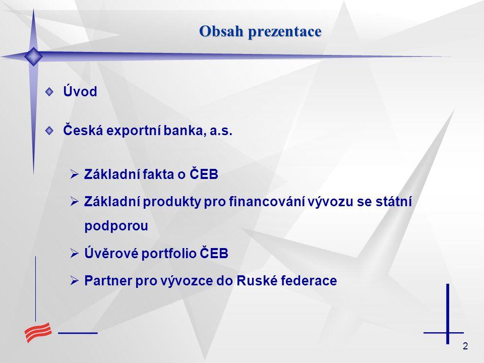 2 Obsah prezentace Úvod Česká exportní banka, a.s.