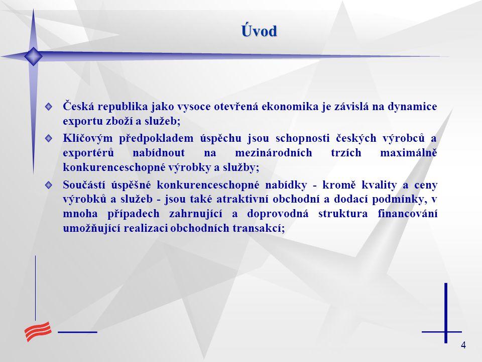 4Úvod Česká republika jako vysoce otevřená ekonomika je závislá na dynamice exportu zboží a služeb; Klíčovým předpokladem úspěchu jsou schopnosti českých výrobců a exportérů nabídnout na mezinárodních trzích maximálně konkurenceschopné výrobky a služby; Součástí úspěšné konkurenceschopné nabídky - kromě kvality a ceny výrobků a služeb - jsou také atraktivní obchodní a dodací podmínky, v mnoha případech zahrnující a doprovodná struktura financování umožňující realizaci obchodních transakcí;