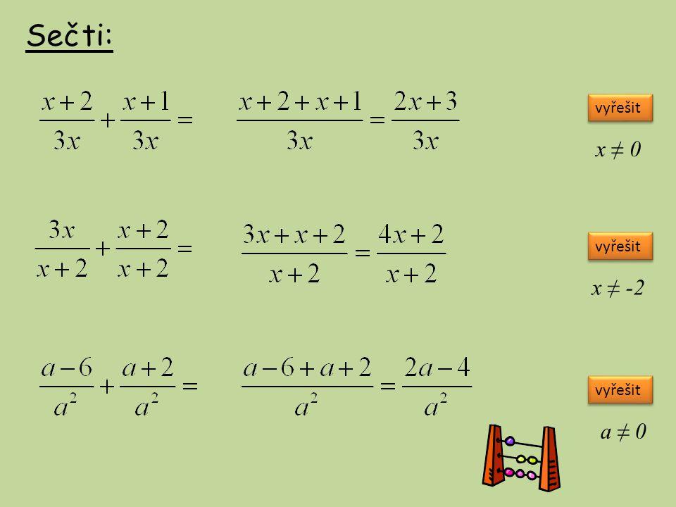 Sečti: vyřešit x ≠ 0 x ≠ -2 a ≠ 0