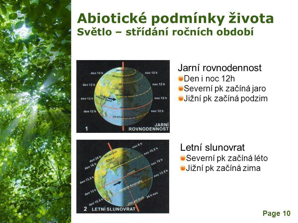 Free Powerpoint Templates Page 10 Abiotické podmínky života Světlo – střídání ročních období Jarní rovnodennost Den i noc 12h Severní pk začíná jaro Jižní pk začíná podzim Letní slunovrat Severní pk začíná léto Jižní pk začíná zima