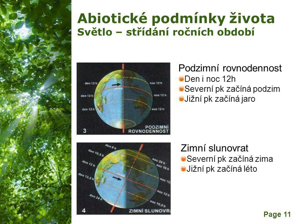 Free Powerpoint Templates Page 11 Abiotické podmínky života Světlo – střídání ročních období Podzimní rovnodennost Den i noc 12h Severní pk začíná podzim Jižní pk začíná jaro Zimní slunovrat Severní pk začíná zima Jižní pk začíná léto