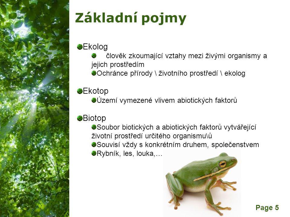 Free Powerpoint Templates Page 5 Základní pojmy Ekolog člověk zkoumající vztahy mezi živými organismy a jejich prostředím Ochránce přírody \ životního prostředí \ ekolog Ekotop Území vymezené vlivem abiotických faktorů Biotop Soubor biotických a abiotických faktorů vytvářející životní prostředí určitého organismu\ů Souvisí vždy s konkrétním druhem, společenstvem Rybník, les, louka,…