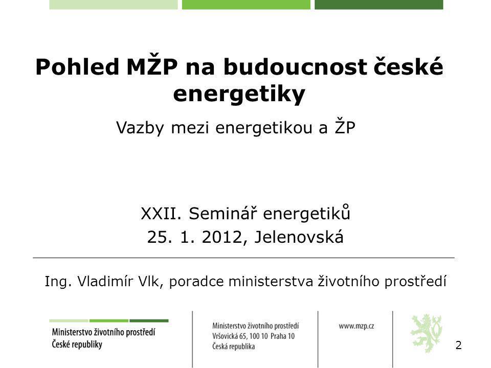 Pohled MŽP na budoucnost české energetiky 2 XXII. Seminář energetiků 25.