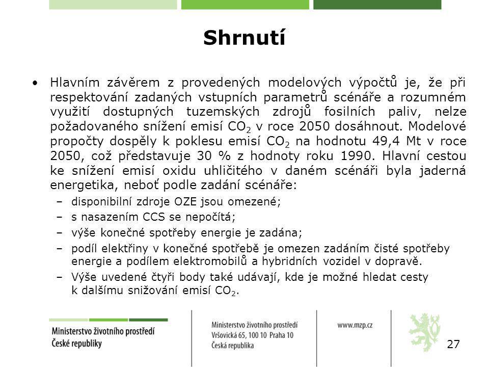 Shrnutí Hlavním závěrem z provedených modelových výpočtů je, že při respektování zadaných vstupních parametrů scénáře a rozumném využití dostupných tuzemských zdrojů fosilních paliv, nelze požadovaného snížení emisí CO 2 v roce 2050 dosáhnout.