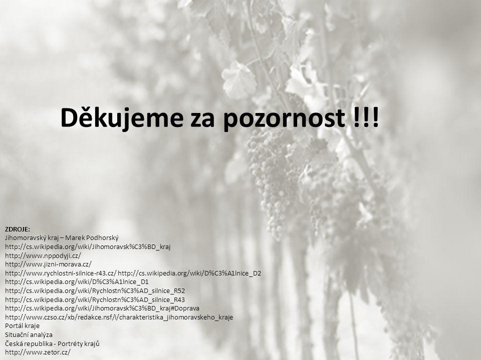 Děkujeme za pozornost !!! ZDROJE: Jihomoravský kraj – Marek Podhorský http://cs.wikipedia.org/wiki/Jihomoravsk%C3%BD_kraj http://www.nppodyji.cz/ http
