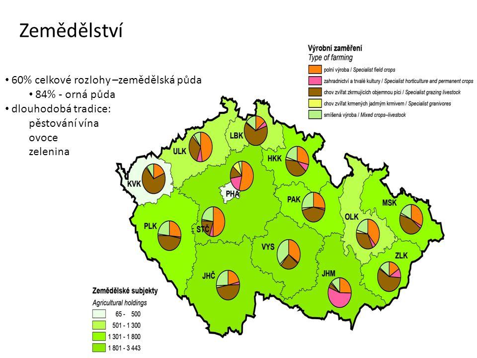 Zemědělství 60% celkové rozlohy –zemědělská půda 84% - orná půda dlouhodobá tradice: pěstování vína ovoce zelenina