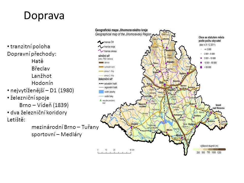 Doprava tranzitní poloha Dopravní přechody: Hatě Břeclav Lanžhot Hodonín nejvytíženější – D1 (1980) železniční spoje Brno – Vídeň (1839) dva železničn