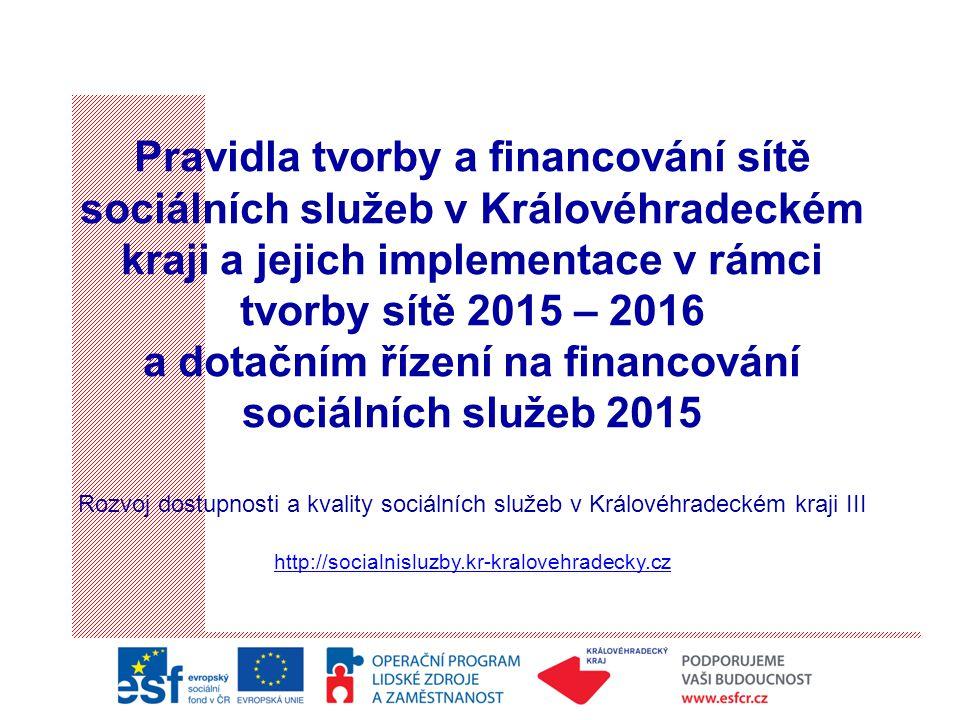 Pravidla tvorby a financování sítě sociálních služeb v Královéhradeckém kraji a jejich implementace v rámci tvorby sítě 2015 – 2016 a dotačním řízení