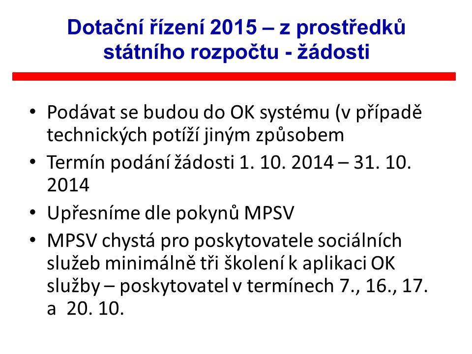 Podávat se budou do OK systému (v případě technických potíží jiným způsobem Termín podání žádosti 1. 10. 2014 – 31. 10. 2014 Upřesníme dle pokynů MPSV