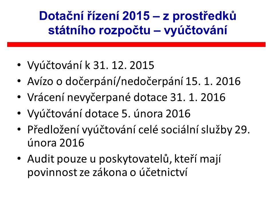 Vyúčtování k 31. 12. 2015 Avízo o dočerpání/nedočerpání 15. 1. 2016 Vrácení nevyčerpané dotace 31. 1. 2016 Vyúčtování dotace 5. února 2016 Předložení