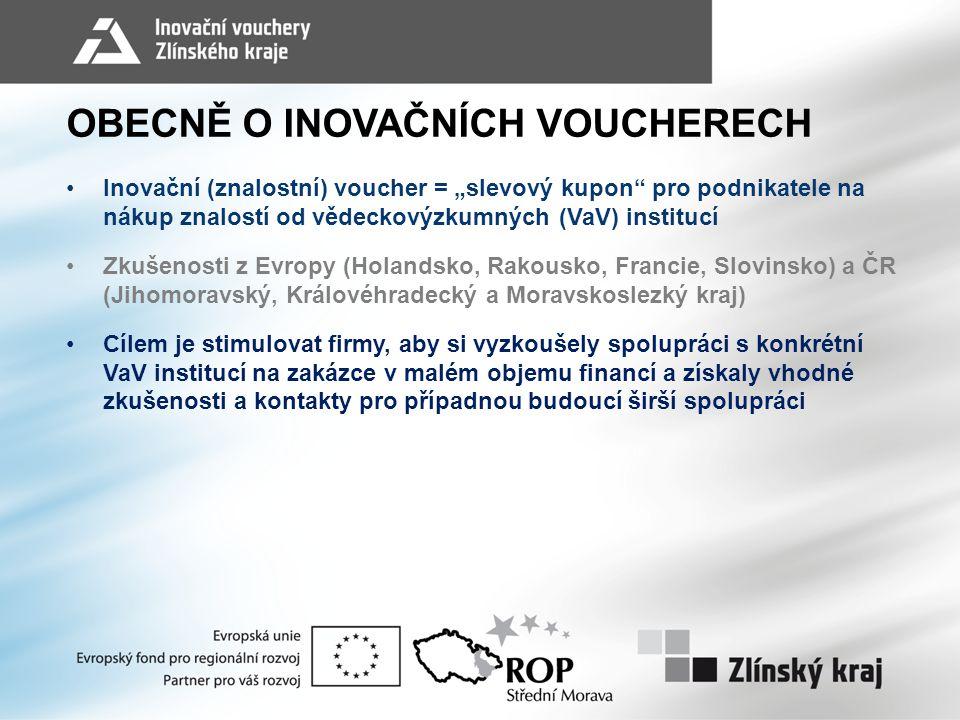 """OBECNĚ O INOVAČNÍCH VOUCHERECH Inovační (znalostní) voucher = """"slevový kupon"""" pro podnikatele na nákup znalostí od vědeckovýzkumných (VaV) institucí Z"""