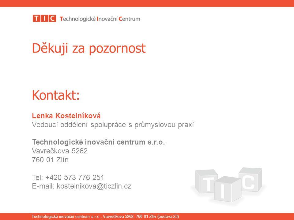 Technologické inovační centrum s.r.o., Vavrečkova 5262, 760 01 Zlín (budova 23) Děkuji za pozornost Kontakt: Lenka Kostelníková Vedoucí oddělení spolu