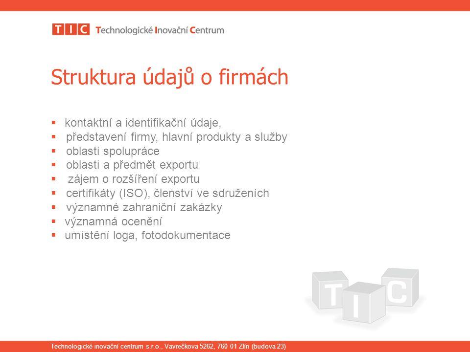 Technologické inovační centrum s.r.o., Vavrečkova 5262, 760 01 Zlín (budova 23) Struktura údajů o firmách  kontaktní a identifikační údaje,  předsta