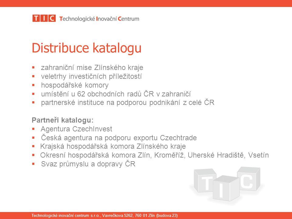 Technologické inovační centrum s.r.o., Vavrečkova 5262, 760 01 Zlín (budova 23) Distribuce katalogu  zahraniční mise Zlínského kraje  veletrhy inves