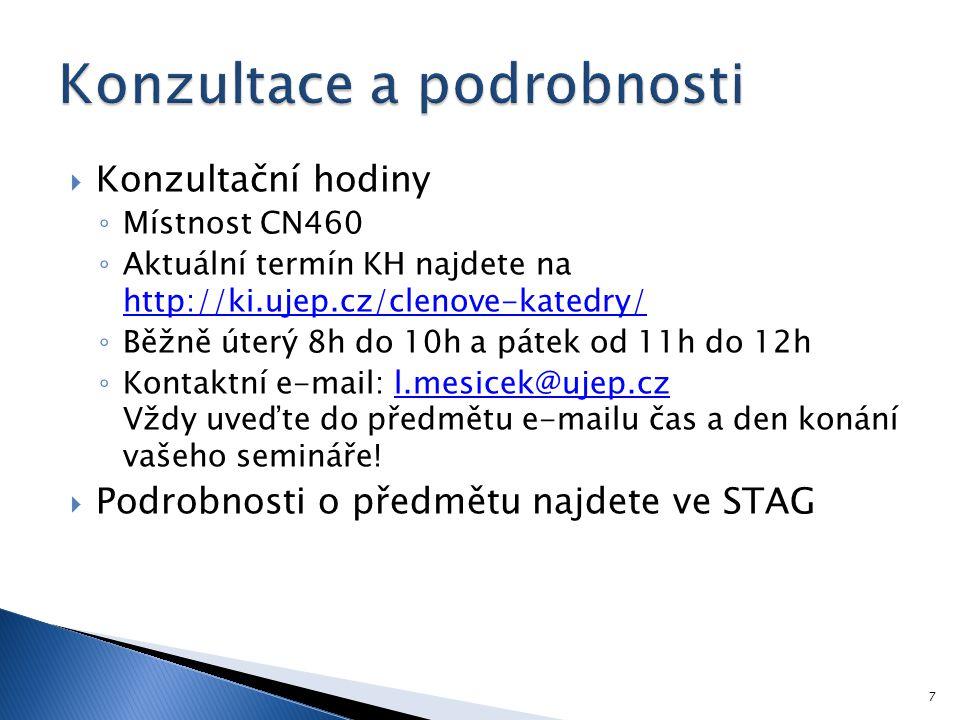  Konzultační hodiny ◦ Místnost CN460 ◦ Aktuální termín KH najdete na http://ki.ujep.cz/clenove-katedry/ http://ki.ujep.cz/clenove-katedry/ ◦ Běžně út