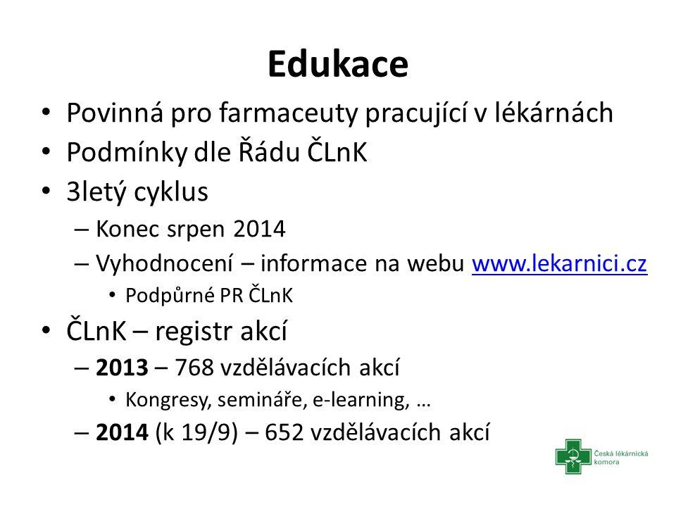 Edukace Povinná pro farmaceuty pracující v lékárnách Podmínky dle Řádu ČLnK 3letý cyklus – Konec srpen 2014 – Vyhodnocení – informace na webu www.leka