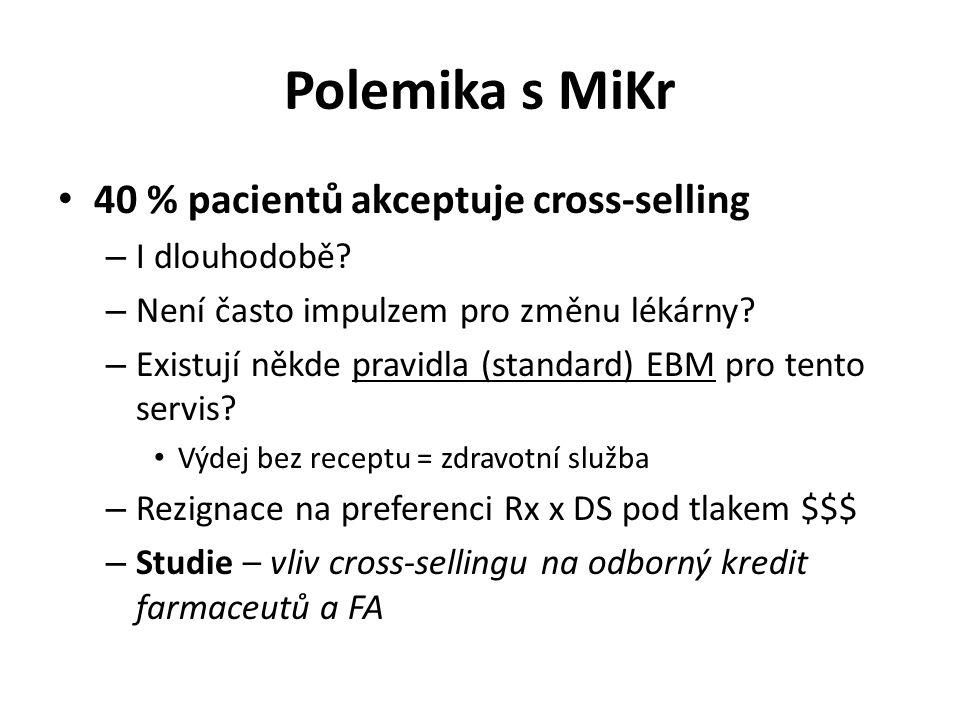 Polemika s MiKr 40 % pacientů akceptuje cross-selling – I dlouhodobě? – Není často impulzem pro změnu lékárny? – Existují někde pravidla (standard) EB
