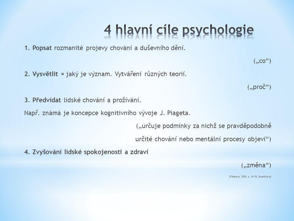 """1. Popsat rozmanité projevy chování a duševního dění. (""""co"""") 2. Vysvětlit = jaký je význam. Vytváření různých teorií. (""""proč"""") 3. Předvídat lidské cho"""