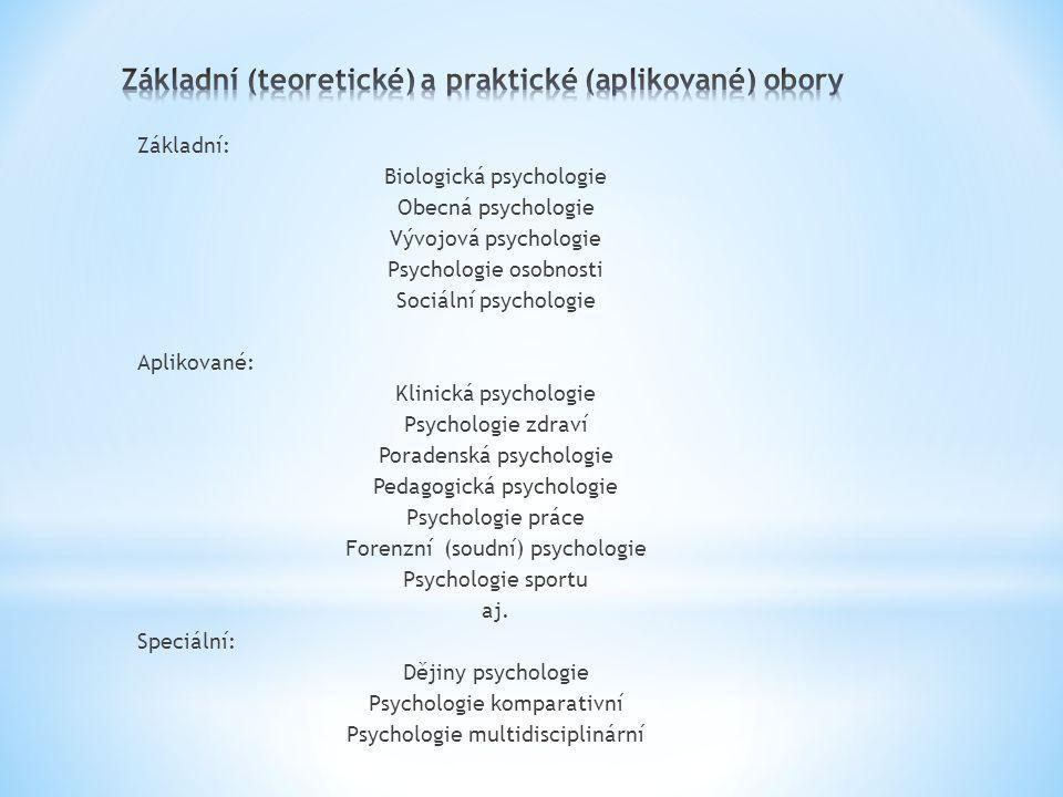 Základní: Biologická psychologie Obecná psychologie Vývojová psychologie Psychologie osobnosti Sociální psychologie Aplikované: Klinická psychologie Psychologie zdraví Poradenská psychologie Pedagogická psychologie Psychologie práce Forenzní (soudní) psychologie Psychologie sportu aj.