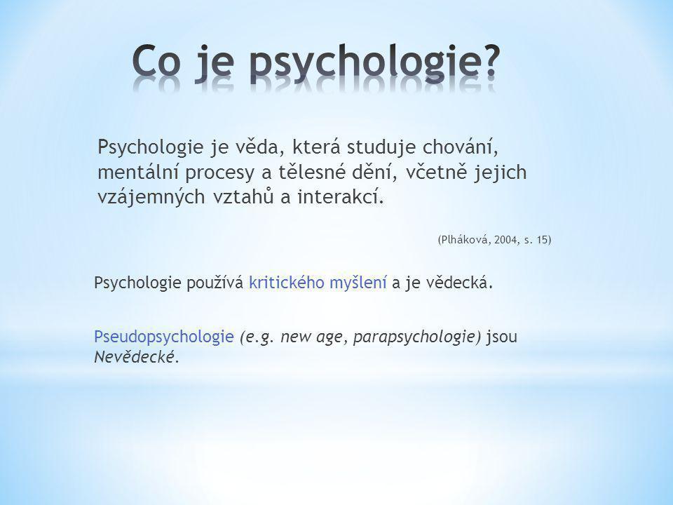 Psychologie je věda, která studuje chování, mentální procesy a tělesné dění, včetně jejich vzájemných vztahů a interakcí. (Plháková, 2004, s. 15) Psyc