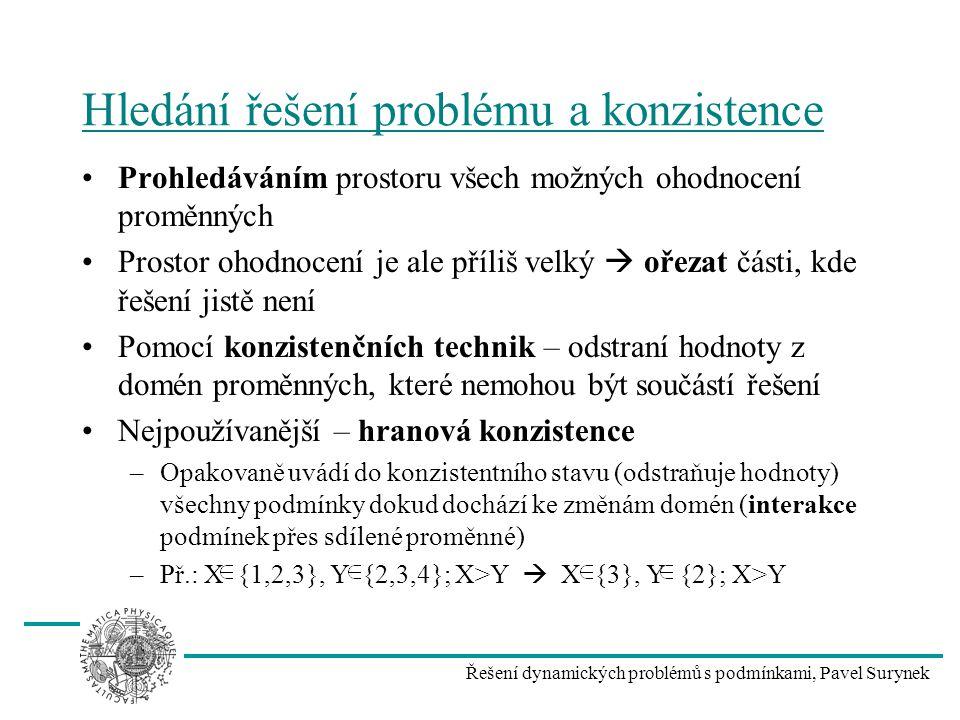 Řešení dynamických problémů s podmínkami, Pavel Surynek Hledání řešení problému a konzistence Prohledáváním prostoru všech možných ohodnocení proměnný