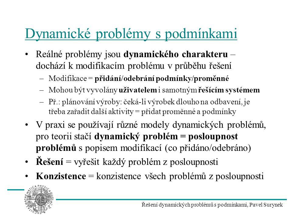 Řešení dynamických problémů s podmínkami, Pavel Surynek Dynamické problémy s podmínkami Reálné problémy jsou dynamického charakteru – dochází k modifi